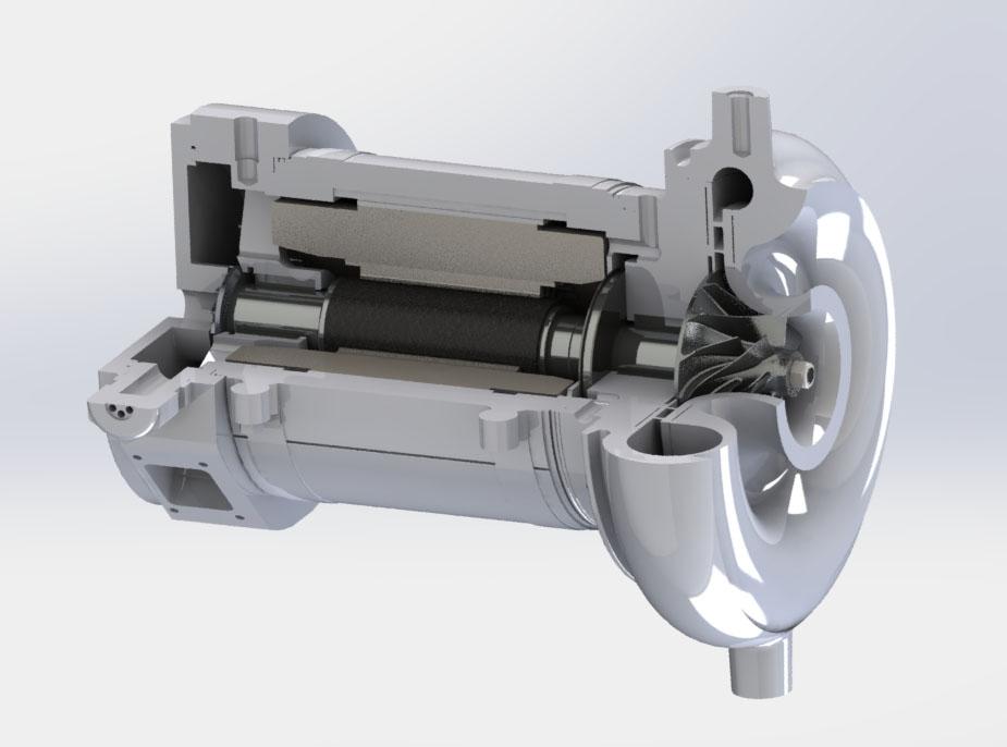 Motor driven PEM air compressors (air cooled)<br>12.0kW/120,000rpm: pressure ratio 2.5, 100g/s